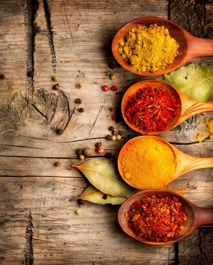 Gewürze. Curry, Safran, Gelbwurz, Zimt lizenzfreie stockfotos