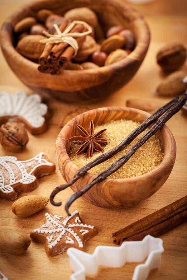 Gewürze für Backen Weihnachtsplätzchen lizenzfreies stockfoto