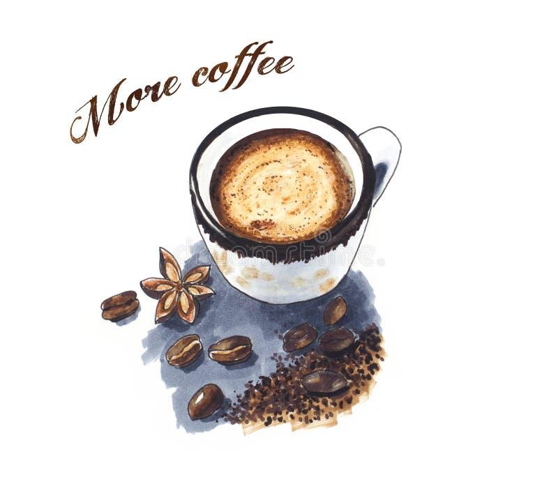 Gewürzkaffee-Weinleseskizze stockbild