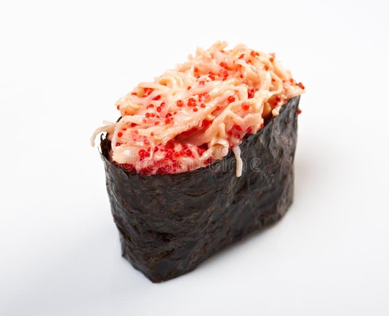 Gewürzsushi mit Kaviar, sauced Scheiben lizenzfreie stockbilder