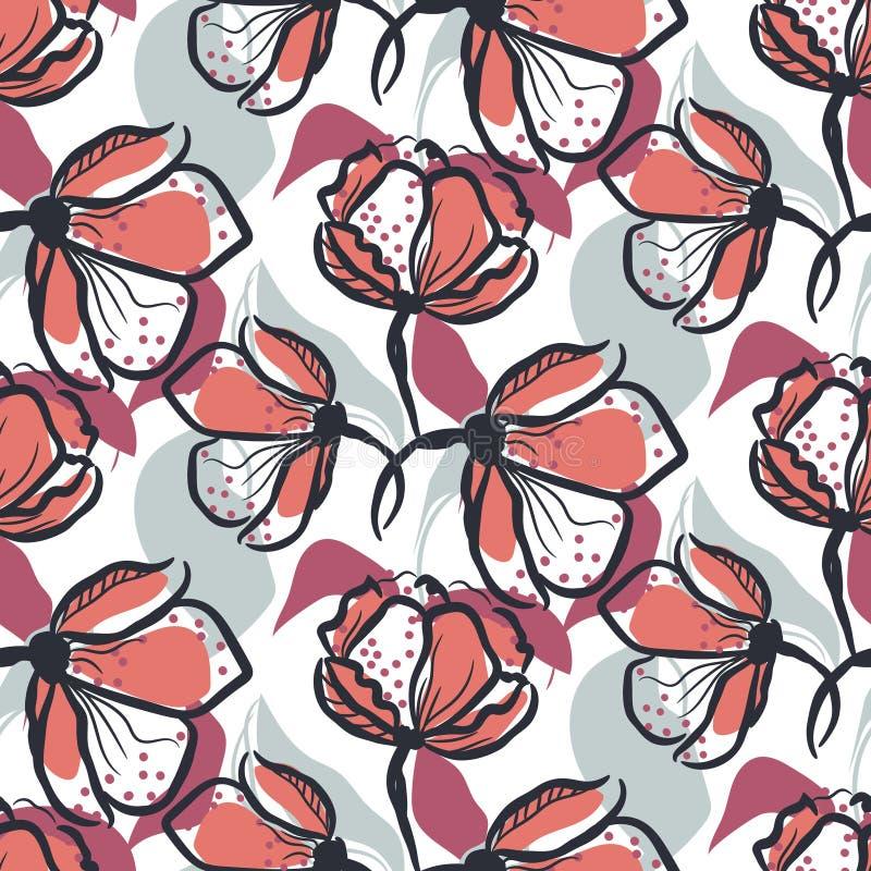 Gewaagd hand getrokken bloem naadloos vectorpatroon in rozerode en blauwe kleuren stock illustratie