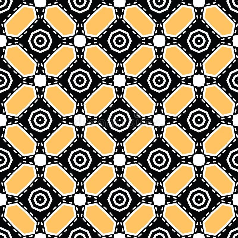 Gewaagd hand getrokken dwarscirkeldekbed Vectorpatroon naadloze achtergrond Symmetrie geometrische abstracte illustratie Trendy r royalty-vrije illustratie