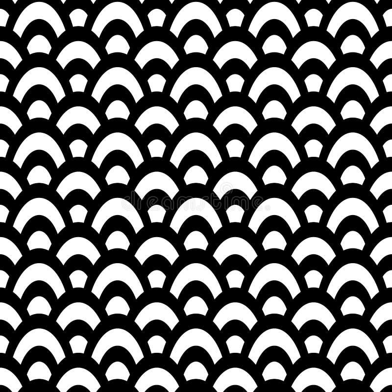Gewaagd traditioneel zwart-wit fishscaleontwerp Naadloos vectorpatroon Groot als coördinaat, voor marketing royalty-vrije illustratie