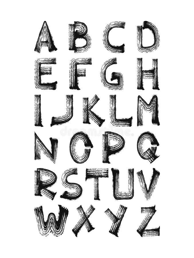 Gewaagde hand geschreven borstel gestreken alfabetsymbolen, grunge kalligrafie vector illustratie