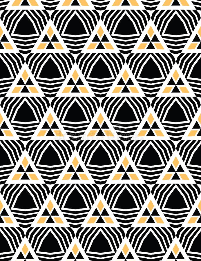 Gewaagde hand getrokken driehoeksgeo Vectorpatroon naadloze achtergrond Symmetrie geometrische abstracte illustratie In retro jar vector illustratie