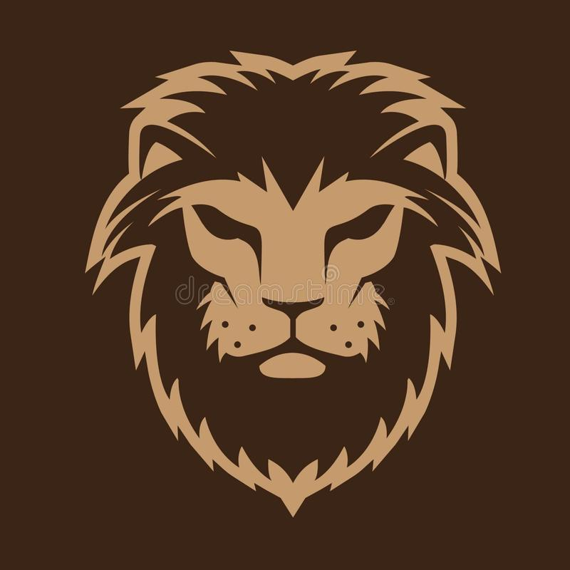 Gewaagde vectorillustratie van het leeuw de hoofdembleem stock illustratie
