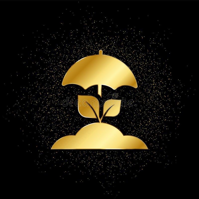 Gewas, oogst, verzekering, beschermingsgoud, pictogram Vectorillustratie van gouden deeltjesachtergrond stock illustratie