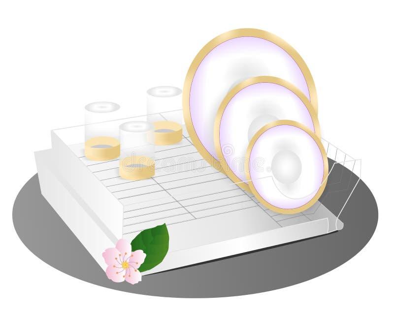 Gewaschene Teller auf Support stock abbildung