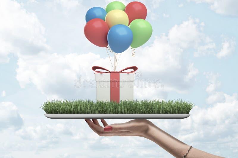 Gewassen zijaanzicht die van de hand van de vrouw digitale tablet met groen gras op het scherm en giftdoos op bovenkant en bos ho stock foto's