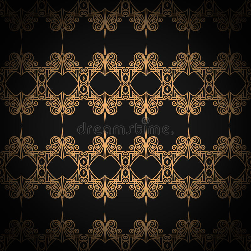 Gewatteerd naadloos patroon Zwarte kleur Het gouden metaal stikken op textiel stock illustratie