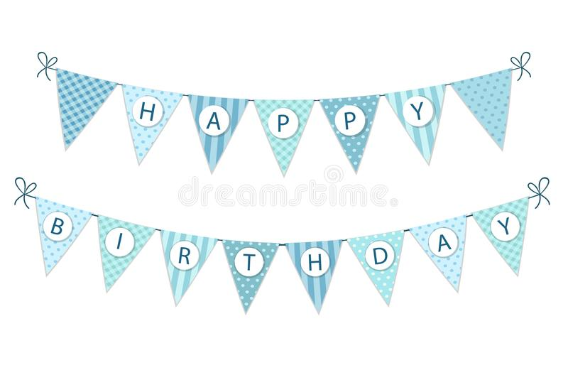 Gewebe-Wimpelfahne der netten Weinlese festliche als Flaggenflaggen mit Buchstaben alles Gute zum Geburtstag im Shabby-Chic-Stil lizenzfreie abbildung
