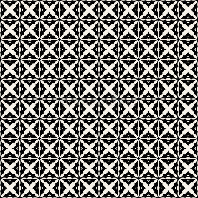 Gewebedruck Geometrisches Muster in der Wiederholung Nahtloser Hintergrund, Mosaikverzierung, ethnische Art Zwei Farben vektor abbildung