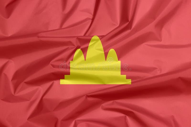 Gewebeflagge von Demokratisch Kampuchea, bezieht sich auf Kambodscha stockfotos
