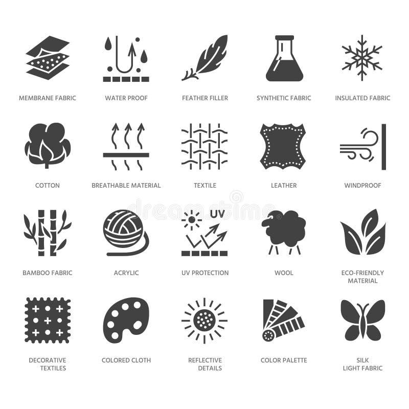 Gewebefunktion, materieller Vektor der Kleidung flache Glyphikonen Kleidereigentumssymbole Rohbaumwolle, wasserdicht, Wind stock abbildung