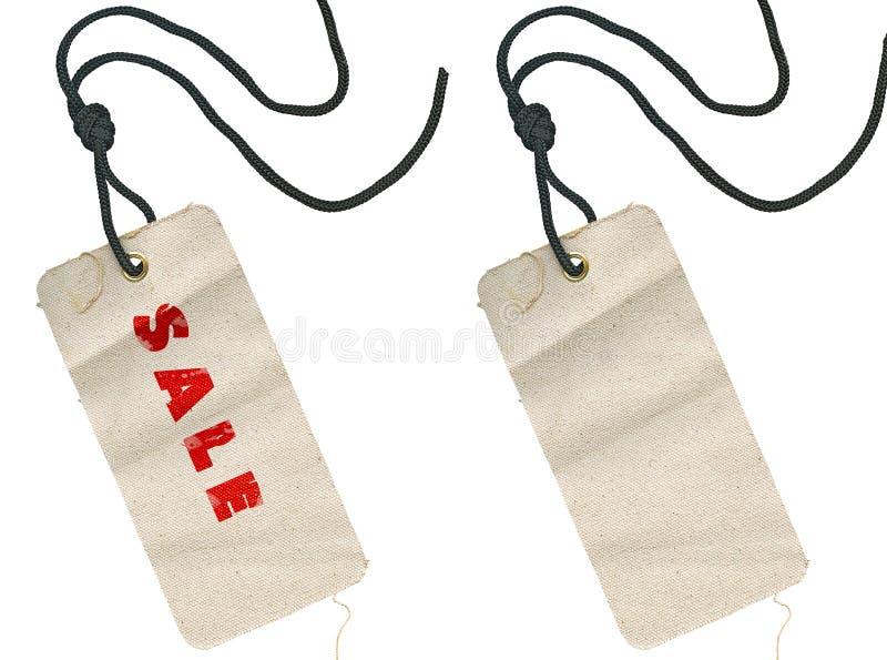 Gewebemarken, leeren sich und mit Verkaufsbeschreibung stock abbildung