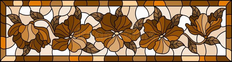 Gewebte Glasillustrierung mit Blumen und Blättern, Horizontalbild in hellen Rahmen, tonbraun, Sepia stock abbildung