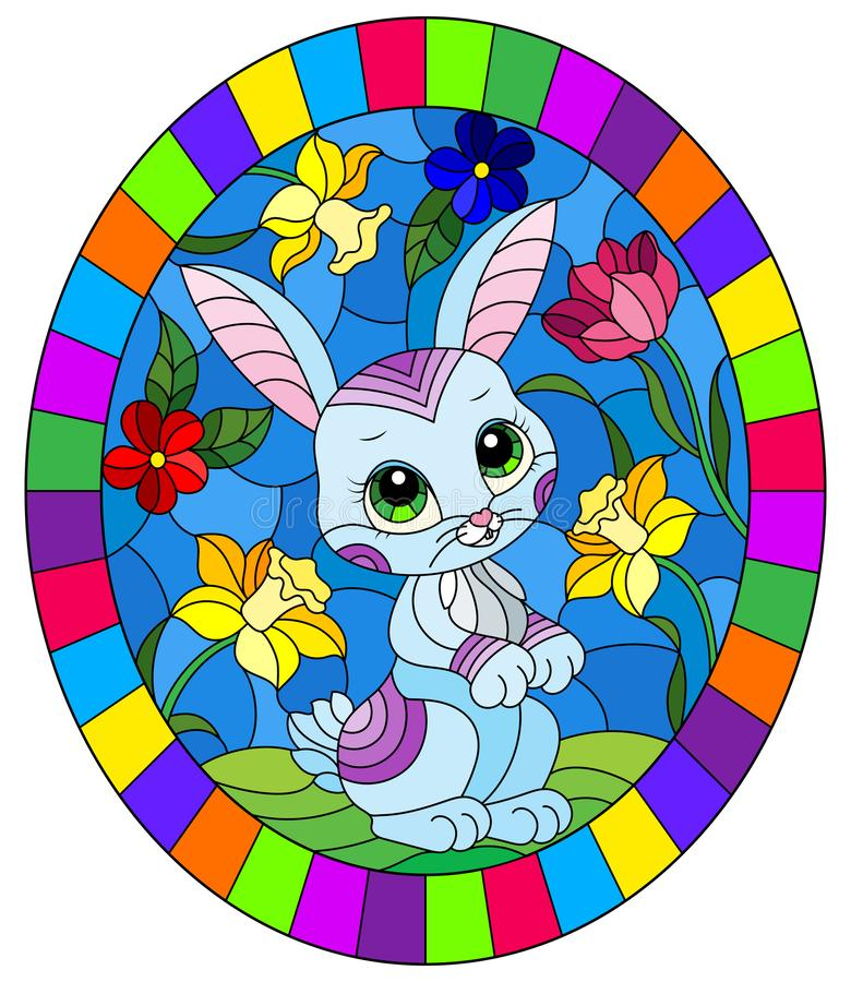 Gewebte Glasillustrierung mit einem süßen Cartoon-blauen Kaninchen auf dem Hintergrund heller Blumen, rundes Bild in hellen Rahme vektor abbildung