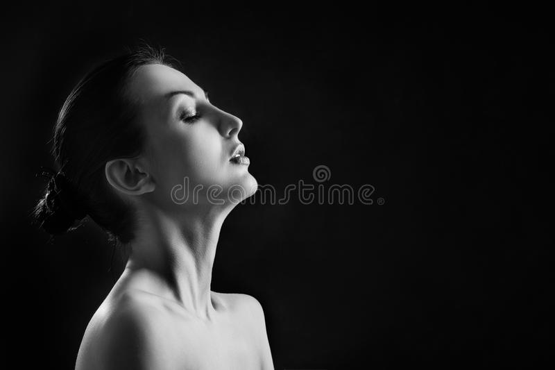 Gewecktes Frauenprofil stockfotos