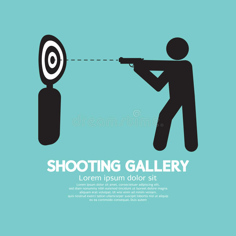 Gewehr-Athleten-At Shooting Gallery-Symbol vektor abbildung