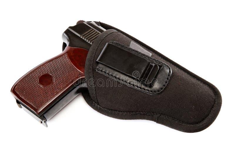 Gewehr in einem Pistolenhalfter auf weißem Hintergrund stockbild