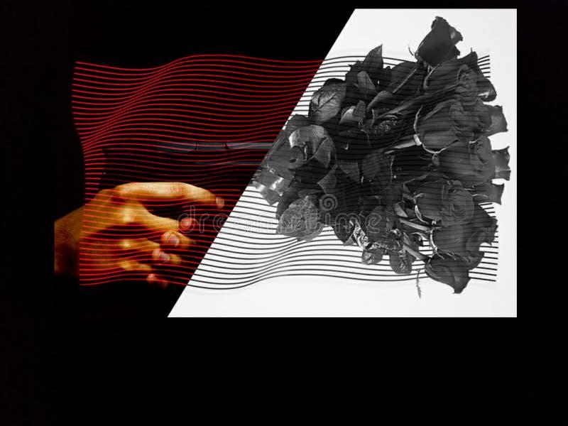 Gewehr und Rosen stockfoto