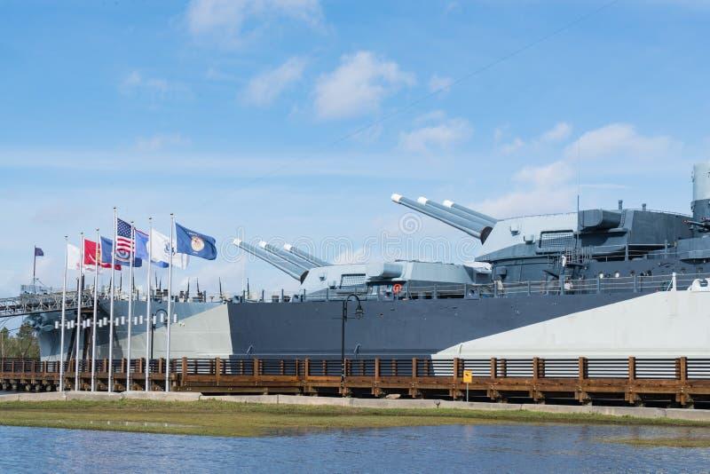 Gewehre des Schlachtschiff USS-North Carolina lizenzfreie stockfotos