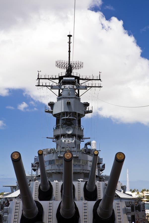 Gewehren des USS Missouri lizenzfreie stockfotos