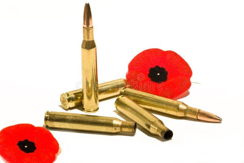 Gewehrkugeln und Mohnblumen stockfoto