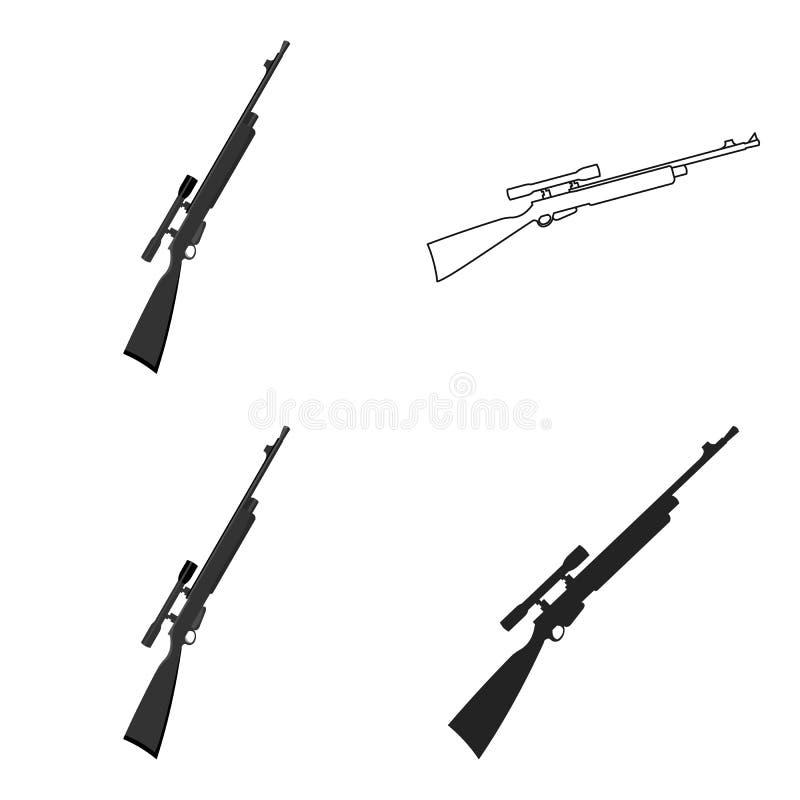 Gewehrscharfschützegewehr-Ikonenkarikatur Einzelne Waffenikone von der großen Munition, Arme eingestellt lizenzfreie abbildung