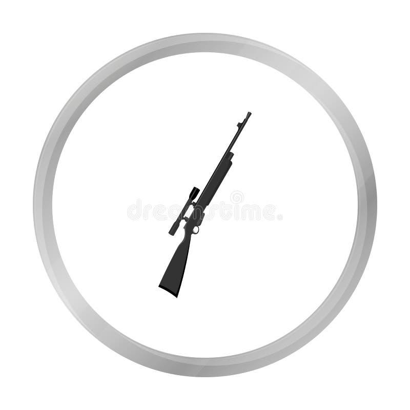 Gewehrscharfschützegewehr-Ikonenmonochrom Einzelne Waffenikone von der großen Munition, Arme eingestellt vektor abbildung