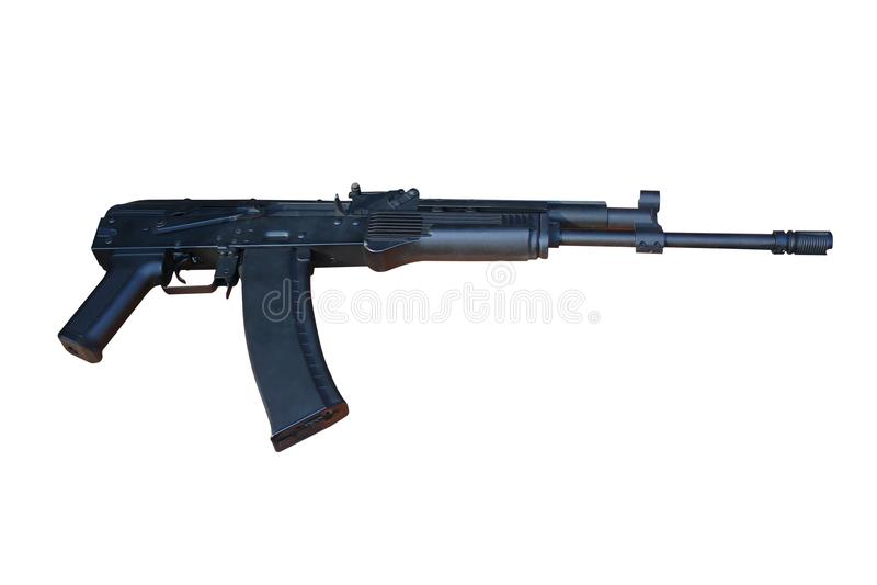 Gewehrsturmgewehr lokalisiert Gewehr der automatischen Waffe lokalisiert auf weißem Hintergrund lizenzfreies stockfoto