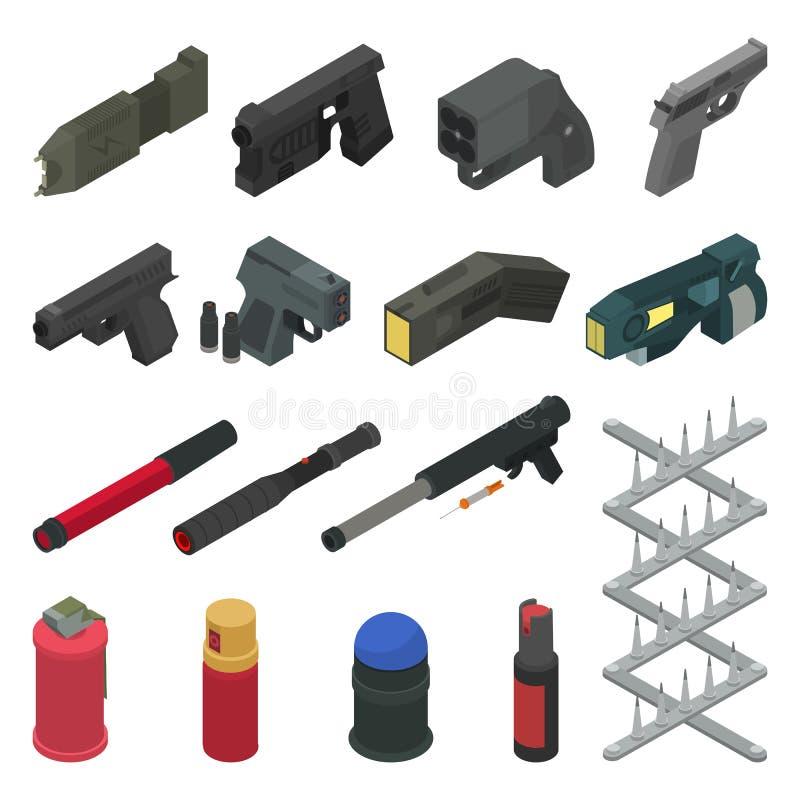 Gewehrvektorpistolenschießenwaffen-Pfeffersprayisometrischer Satz der Militärfeuerwaffenillustrations-Armee des Kampfmitteltireur lizenzfreie abbildung
