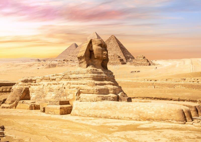 Geweldige Sphinx voor de Giza Pyramids, Egypte stock fotografie