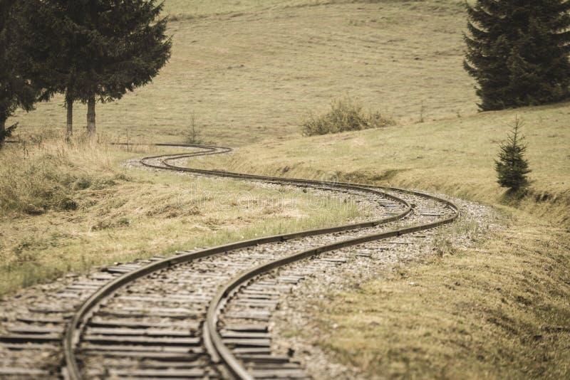 gewellte Bahnstrecken am nassen Sommertag im Wald - Weinlesefilm stockfoto