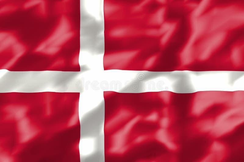 Gewellte dänische Flagge stock abbildung