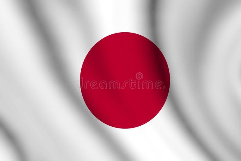 Gewellte japanische Flagge stock abbildung