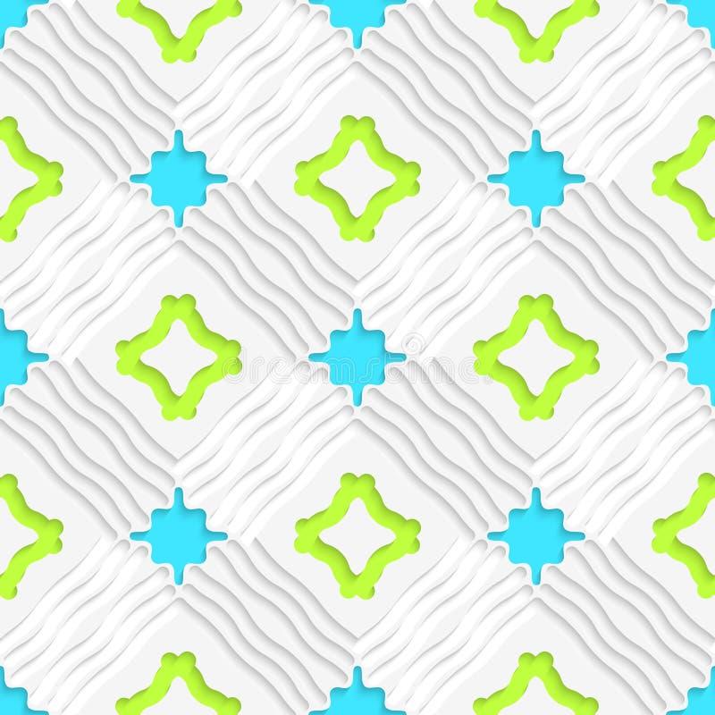 Gewellte Linien mit blauem und grünem nahtlosem lizenzfreie abbildung