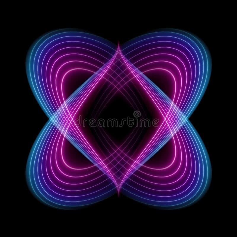Gewellte Neonlinien, ultraviolettes Spektrum, abstrakter Modehintergrund, geheime Form lokalisiert auf schwarzem Hintergrund stock abbildung