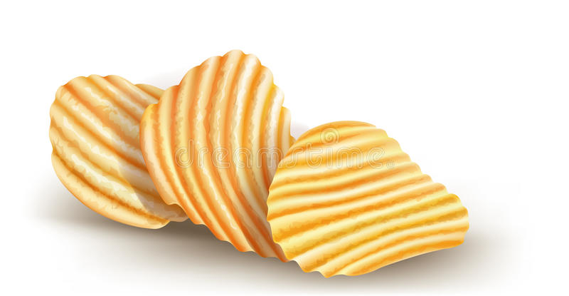 Gewellte potatos Chips auf weißem Hintergrund vektor abbildung