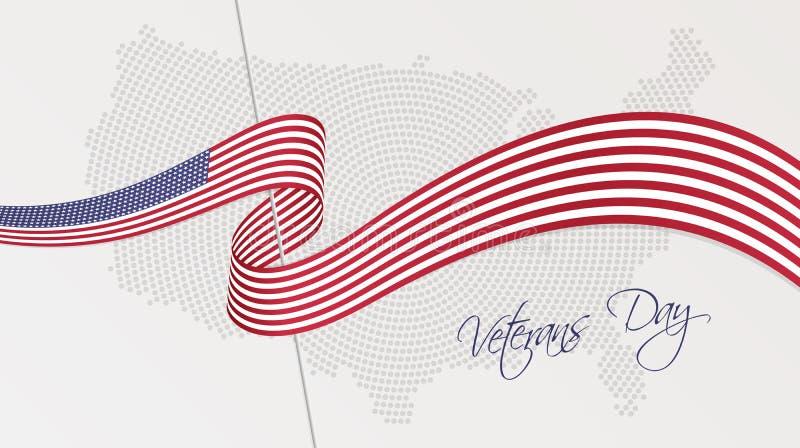 Gewellte Staatsflagge und Radialstrahl punktierten Halbtonkarte der Vereinigten Staaten von Amerika stock abbildung