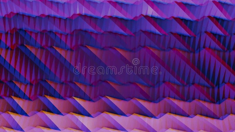 Gewellte Steigungsanimation in den purpurroten und rosa Farben mit Anaglypheffekt animation Helle lila digitale Wellenbewegung lizenzfreie abbildung