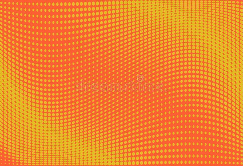 Gewellter Halbtonhintergrund Digital-Steigung Punktiertes Muster mit Kreisen, Punkte, Punktkleiner maßstab Gelbe, orange Farbe vektor abbildung