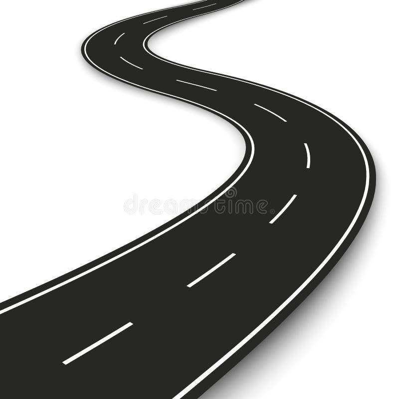 Gewellter Straßenstreifen Landstraßenstreifen-Schablonendesign für infographic und Fahne Auch im corel abgehobenen Betrag vektor abbildung