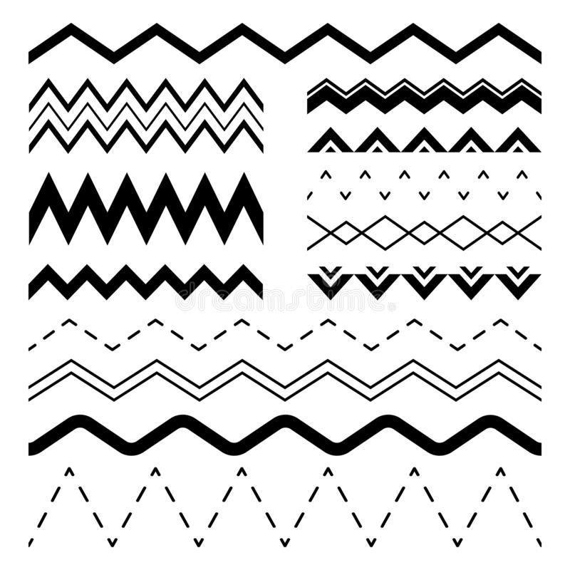 Gewellter Zickzack Wiggle zerriss Wellen, parallele Kurvenlinie Wellengrenze und nahtlose Illustration des Sinuszickzackrahmenvek stock abbildung