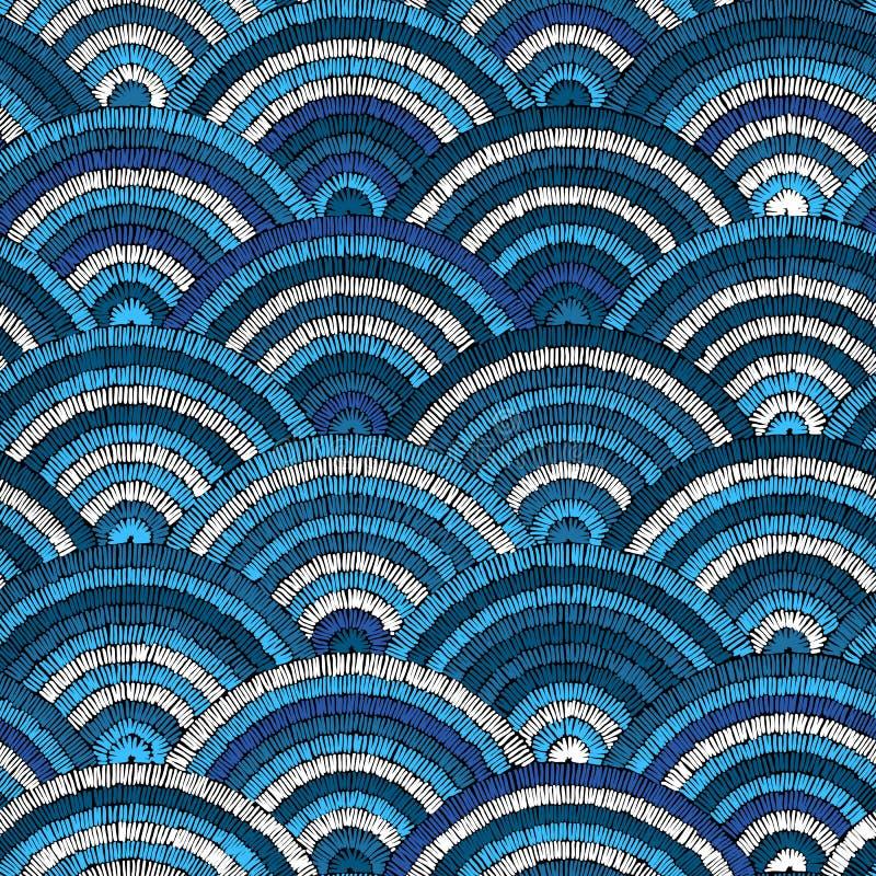 GEWELLTES NAHTLOSES MUSTER Gestickter von Hand gezeichneter Hintergrund Blaues w stock abbildung