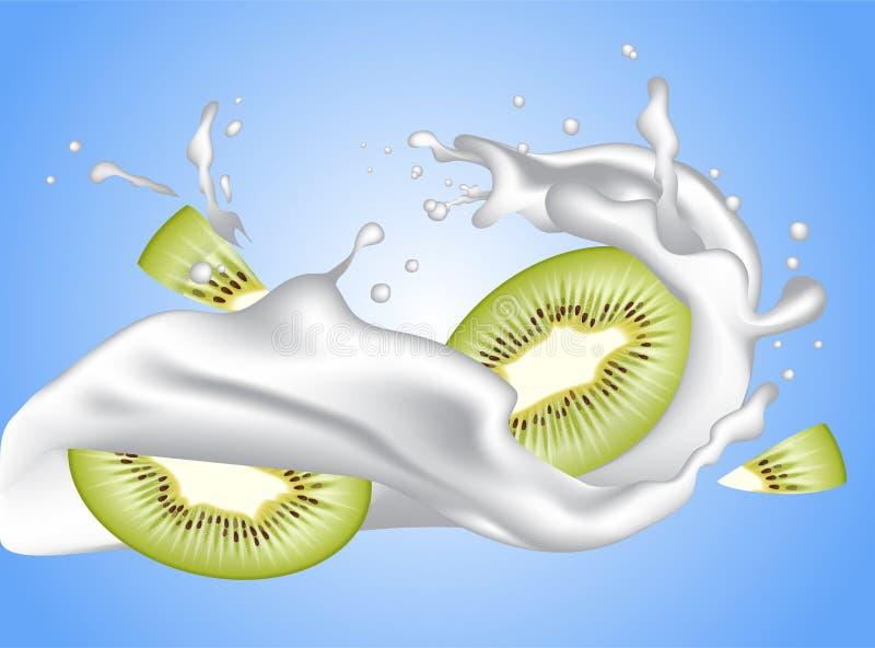 Gewelltes Spritzen des realistischen Milchkronen-Joghurts mit Kiwischeiben lizenzfreie abbildung
