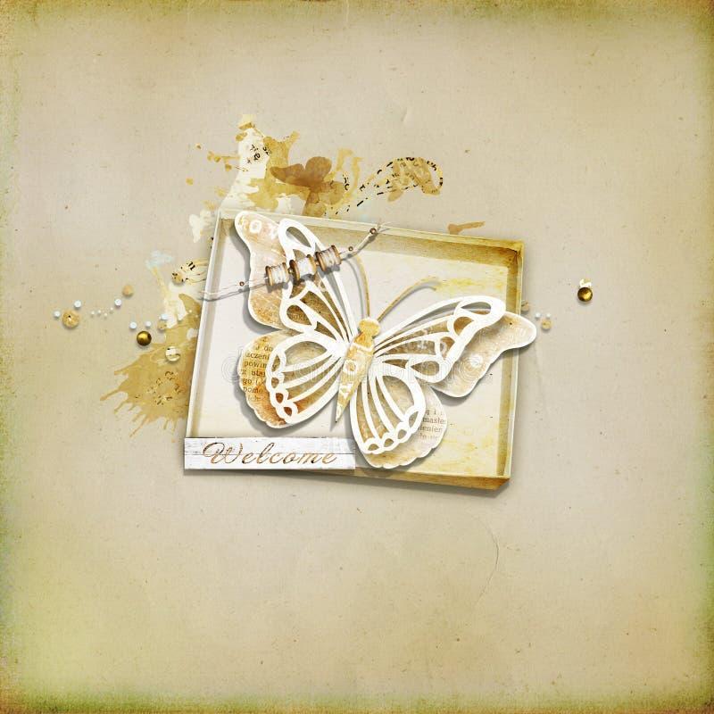 Geweven achtergrond - met een doos en een vlinder stock afbeelding