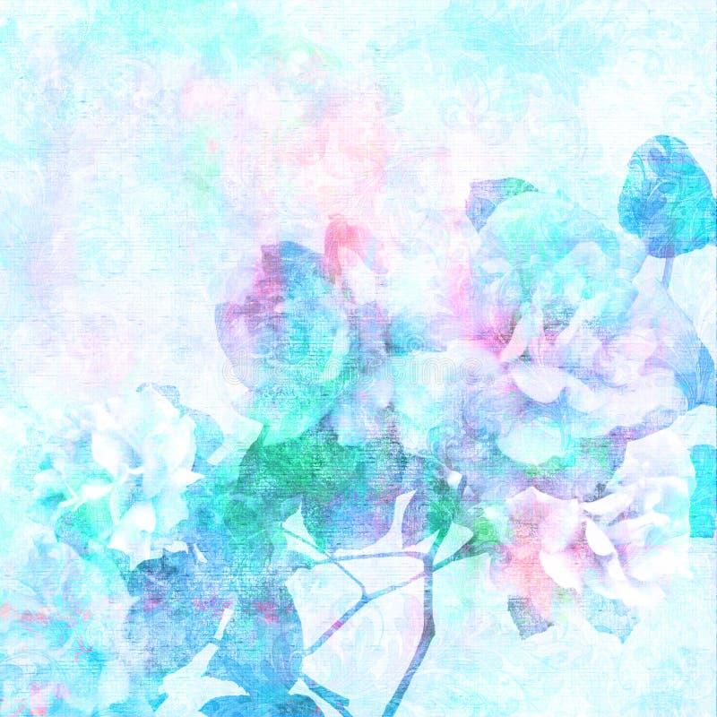 Geweven blauwe gebleekte rozen vector illustratie
