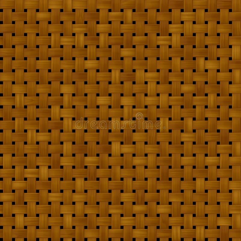Geweven de textuurachtergrond van het rotan rieten naadloze patroon - donkere bruine kleur royalty-vrije illustratie