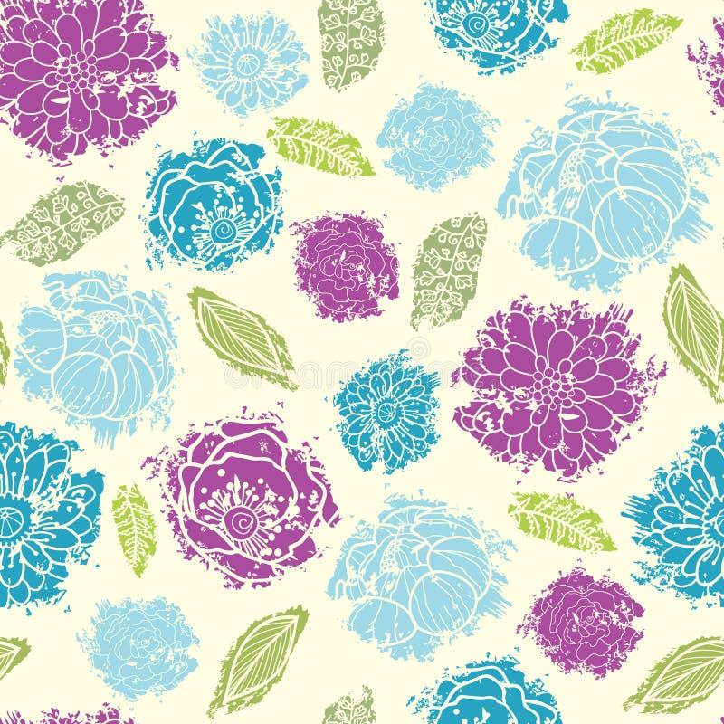 Geweven geschilderd bloem naadloos patroon vector illustratie